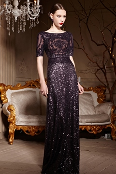 Gorgeous A-Line Scoop Half Sleeves Sequins Charming Evening Dress