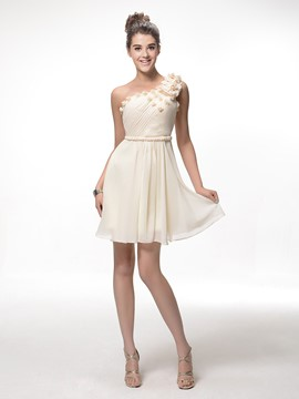 Charming A-line Short/mini One-Shoulder Pleats Flowers Zipper-up Homecoming Dress