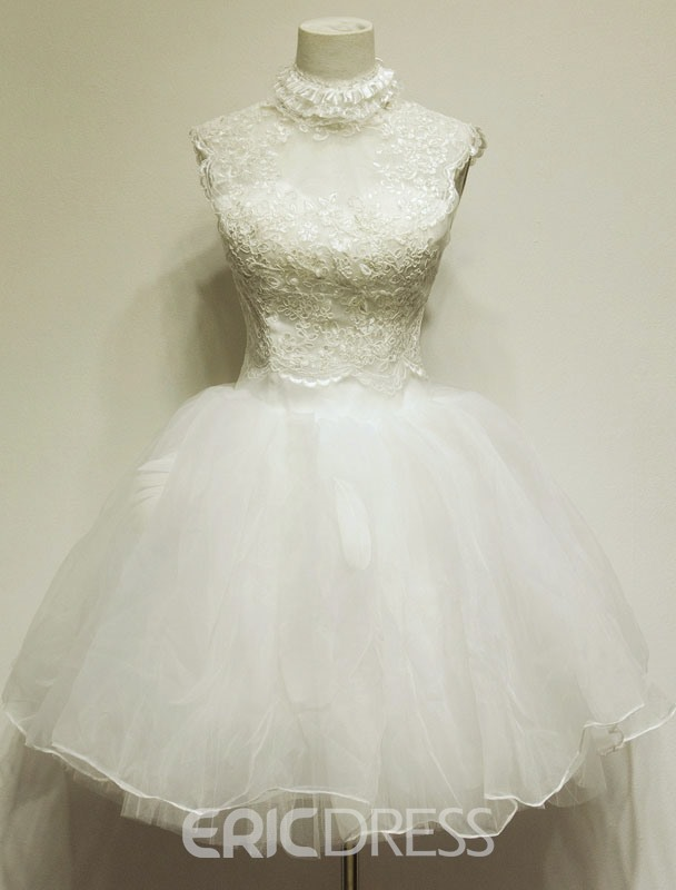 Pretty Ball Gown High-Neck Lace Homecoming/Sweet16 Dress