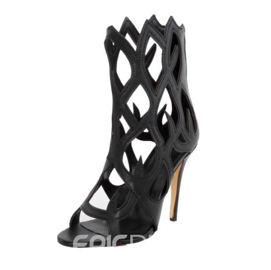 Irresistible Coppy Leather Hollow-Out Stiletto Sandals