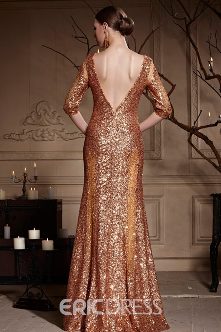 Scoop Neck Half Sleeves Sexy Deep Low V-Back Lomng Evening Gown