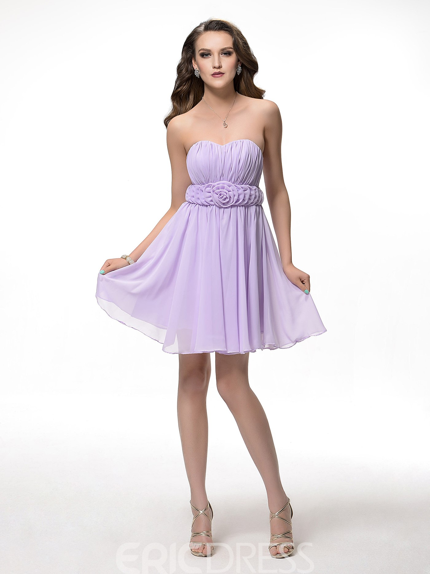 Pretty A-Line Sweetheart Lace-up Flowers Short-Length Homecoming Dress