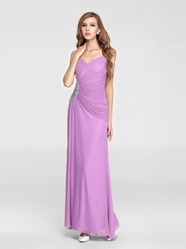 A-Line V-Neck Straps Beading Floor Length Charming Evening Dress