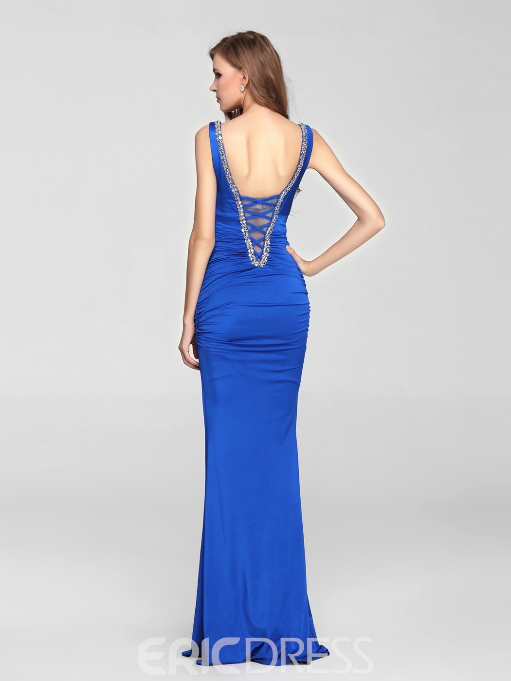 Sexy Mermaid V-Neck Beading Floor Length Blue Charming Evening Dress