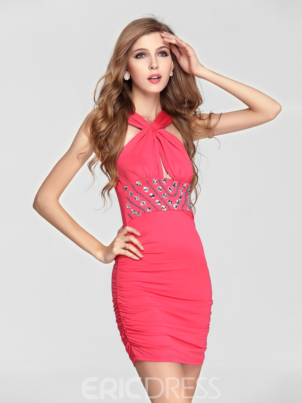 Sexy Rhinestone Straps Column Short Club Little Party Dress