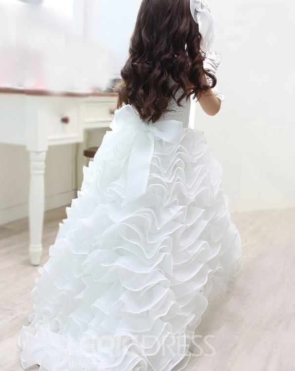 Ericdress Tiered Pearls Lace Ball Gown Flower Girl Dress