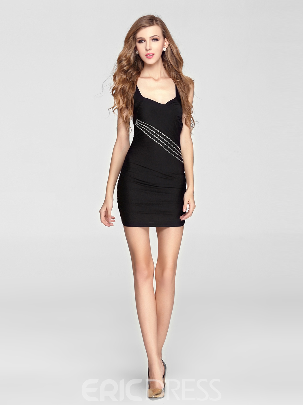 Chic Sheath/column Short/mini Straps Beadings Little Party Dress