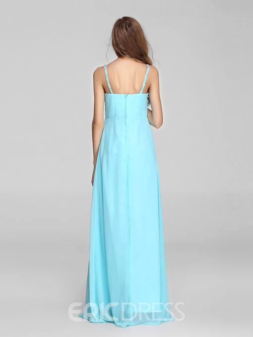 Comely A-Line Straps Beading Floor-Length A-Line Zipper-up Prom Dress