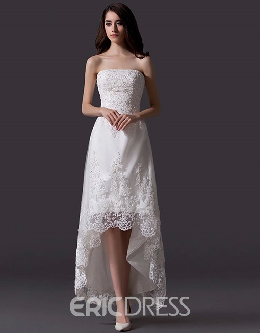 Ericdress Strapless Appliques High Low Beach Wedding Dress
