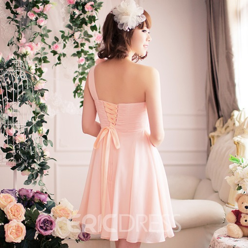 Cute A-Line One-Shoulder Empire Flowers Homecoming/Sweet 16 Dress