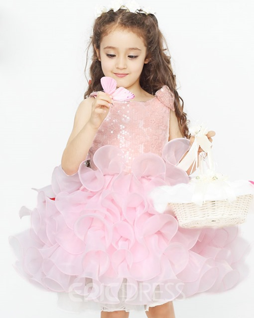Delicate Ball Gown Pleats Zipper-up Tiered Flower Girl Dress