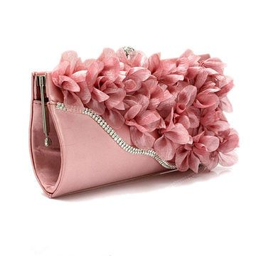Solid Color Chiffon Petal Chain Clutches