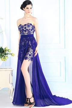 Split-Front Sweetheart Lace Court Train Evening Dress