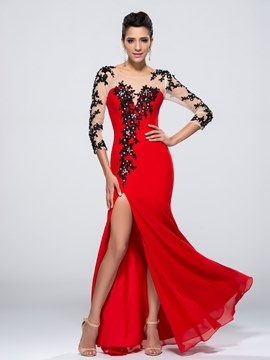 Charming Mermaid Beading Appliques Split Front Evening Dress