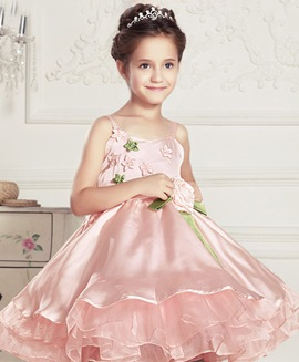 Cute Spaghetti Straps A-Line Flowers Flower Girl Dress