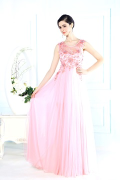 Fashionable Lace Scoop Floor-Length Beading Sashes Zipper-Up Prom Dress
