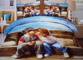Lovely Kissing Babies Print 4-Piece 3D Duvet Cover Sets
