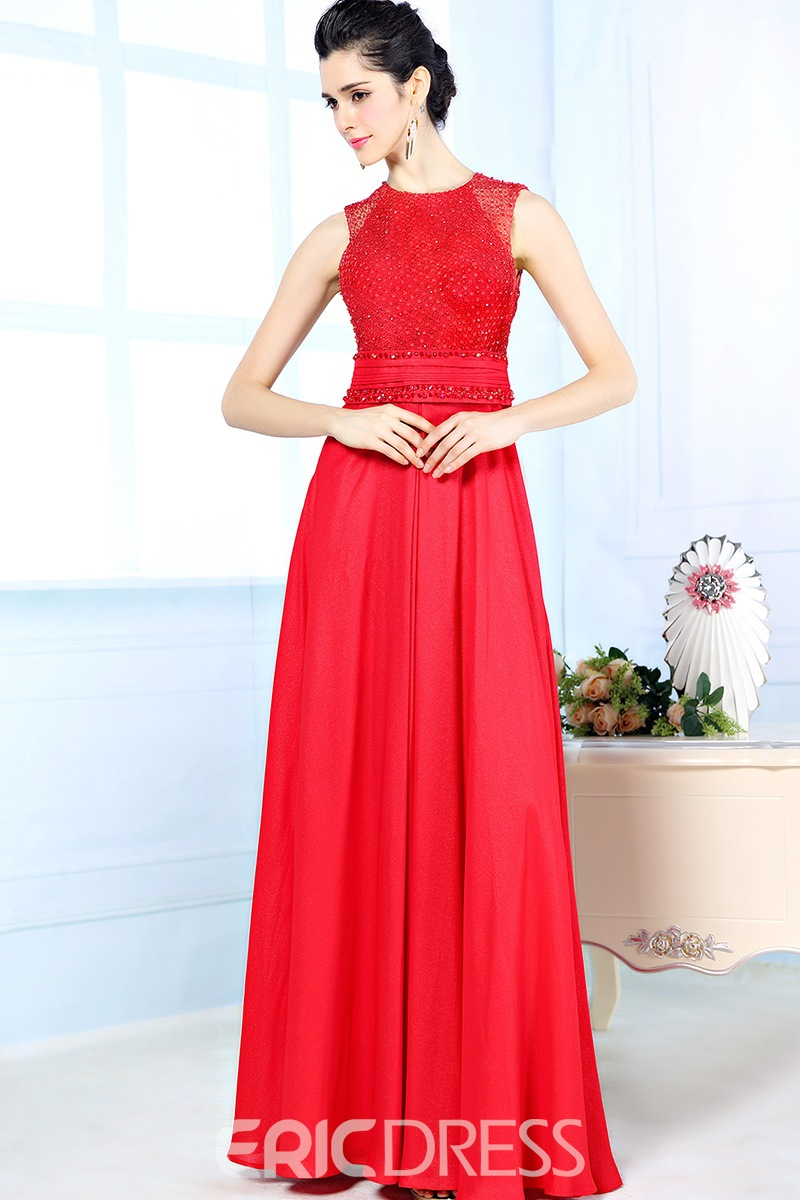 Delicate A-Line Scoop Neck Beads Floor-Length Evening Dress