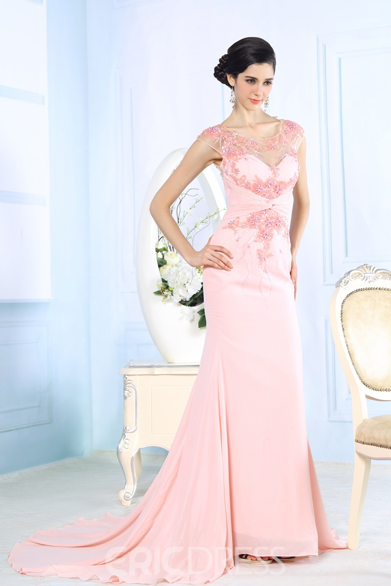 Ericdress Charming Mermaid Scoop Beading Appliques Sweep Evening Dress