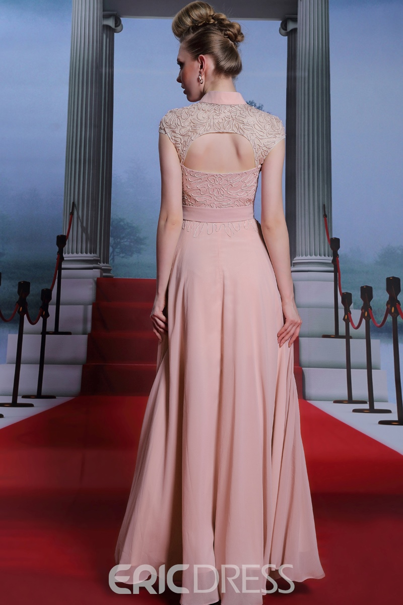 High-Neck Cap Sleeves Evening Dress