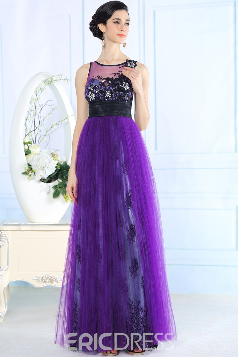 Ericdress Charming A-Line Scoop Beading Flowers Floor Length Evening Dress