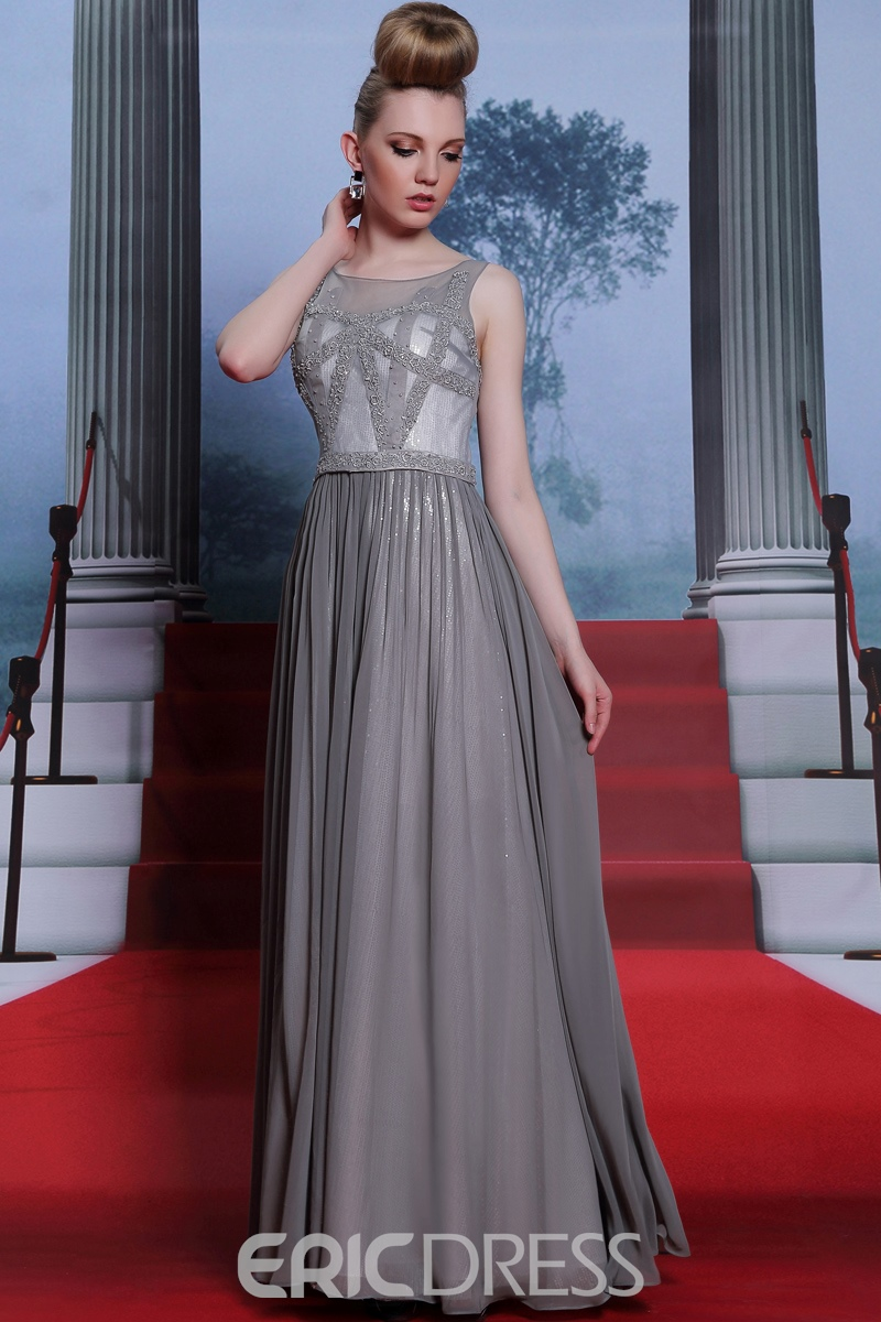 A-Line Bateau Beading Chiffon Evening Dress
