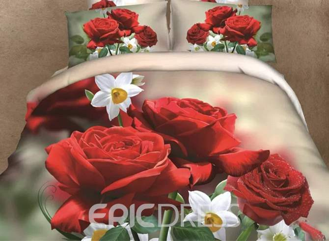 Vivilinen 3D Red Rose and White Blossom Printed Cotton 4-Piece Bedding Sets/Duvet Covers