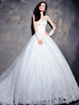 Ericdress Cap Sleeve Appliques Beading Wedding Dress