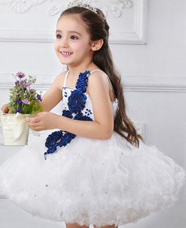 Cute A-Line Spaghetti Straps Flowers Beading Flower Girl Dress