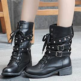 Cool Lace-Up Rivet Buckle Low Heel Martin Boots