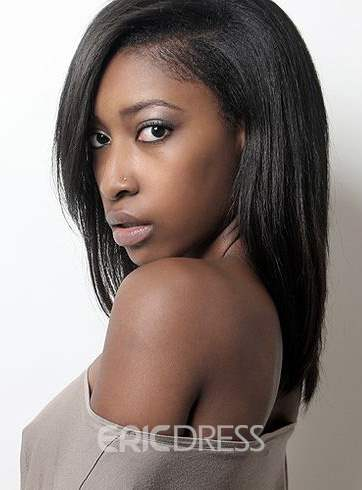 Ericdress Discount 100% Remy Human Hair Medium Straight Natural Black Full Lace Wig 16 Inches #1B