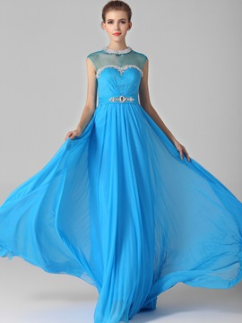Charming Jewel Neck Beading Sweep Train Zipper-up Evening Dress