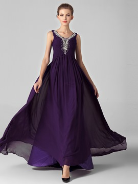 Straps A-Line Beading Ruffles Sweep Train Long Evening Dress