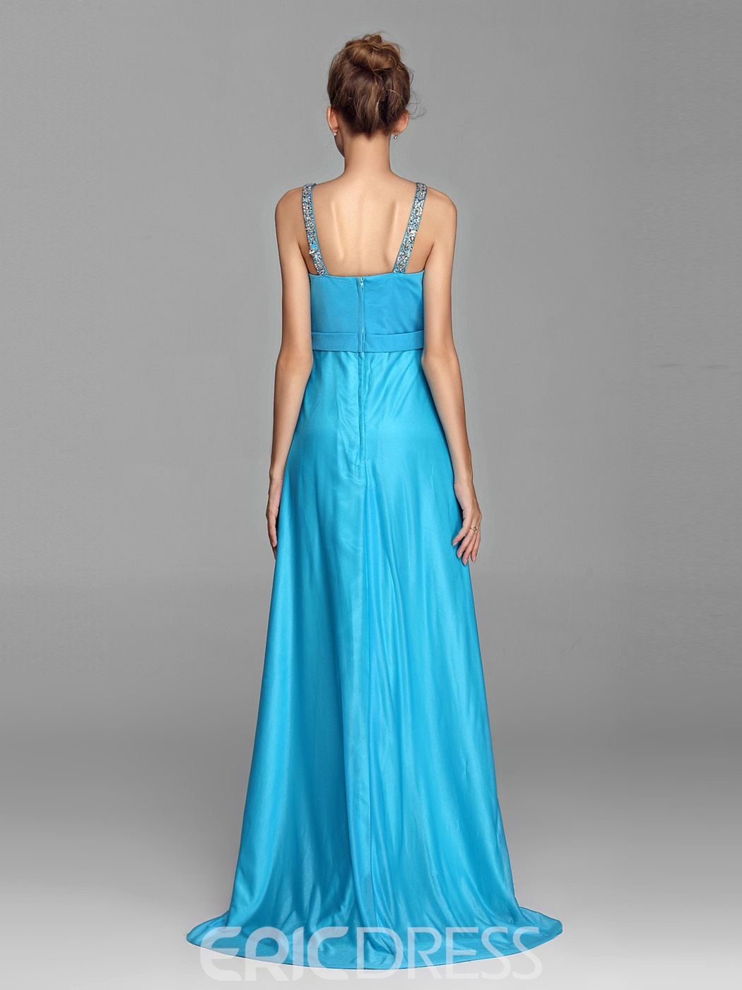 Courtlike Ruched Halter Beading Bowknot Sweep Train Evening Dress