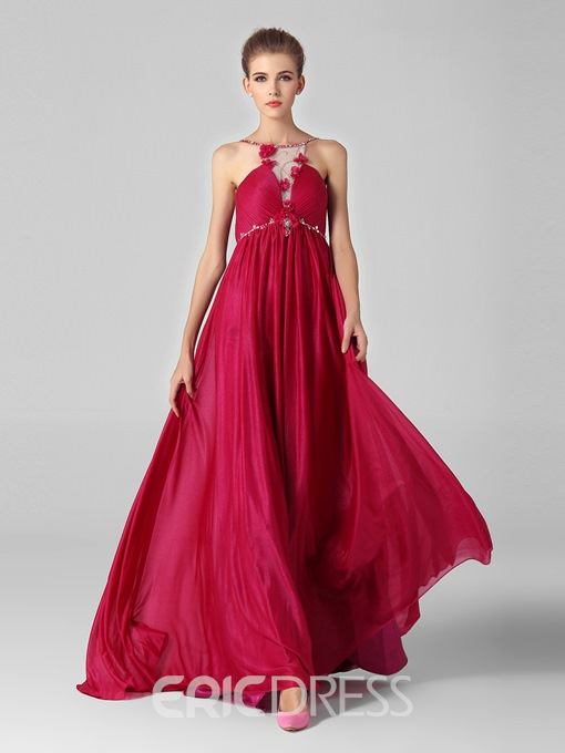 Glamour Halter Flowers Beading Sweep Train Evening Dress