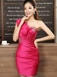 Image of Hot Selling Sheath One-Shoulder Beadings Cocktail Dress