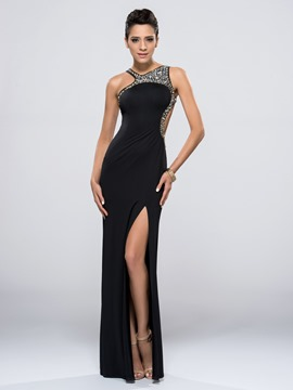 Delicate Sexy Beading Split Front Column Cross Strap Floor Length Evening/Prom Dress