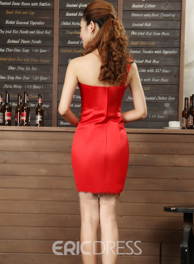 Hot Selling Sheath One-Shoulder Beadings Cocktail Dress