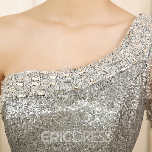 Ericdress One-Shoulder Sequins Mermaid Evening Dress With Half Sleeve