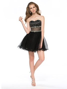 Sexy A-Line Ruffle Crystals Homecoming Dress