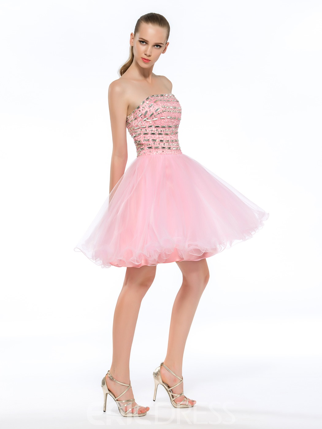 Pretty Strapless A-Line Sequin Beaded Homecoming Dress