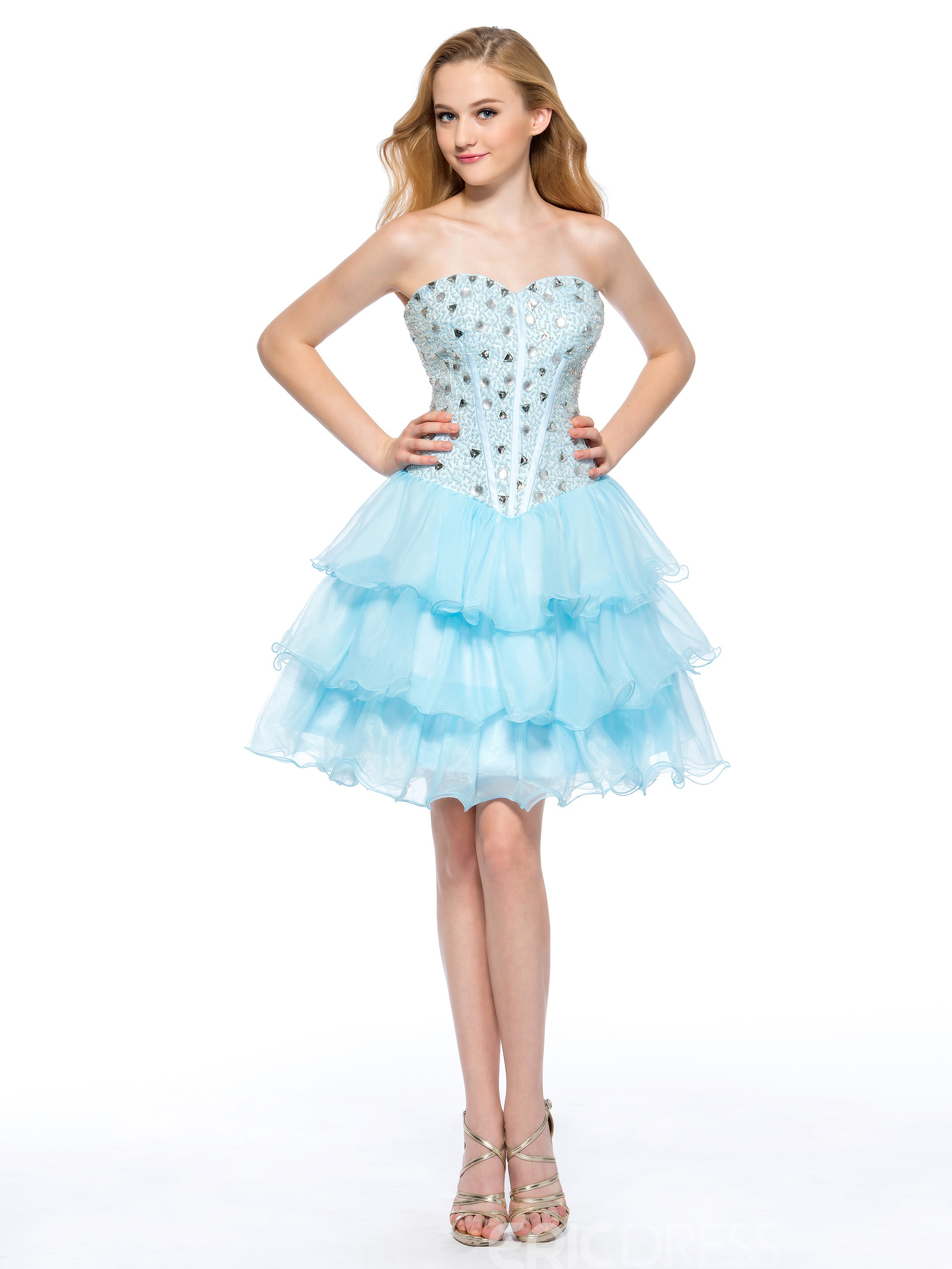 Pretty A-Line Sweetheart Rhinestone Short Homecoming Dress