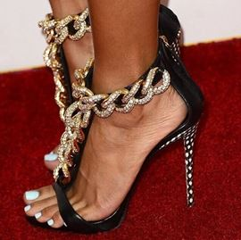 Shining Black Sheepskin Rhinestones Metal Chain Sandals