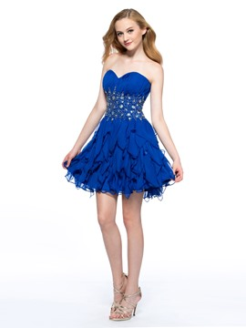 Pretty A-Line Sweetheart Crystal Homecoming Dress