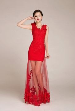 Sexy Shearth V-Neck Lace Evening Dress