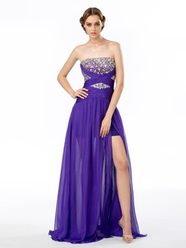 Elegant Strapless Beading A-Line Split Front Evening Dress