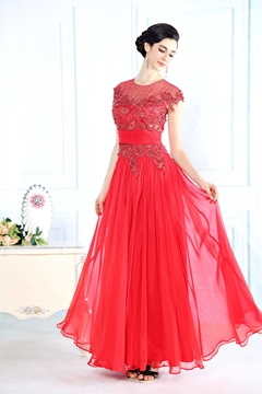 Gorgeous Scoop Neck Lace Appliques Chiffon Long Evening Dress