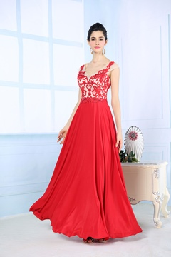 Timeless V-Neck Embroidery Beading Floor-Length Evening Dress