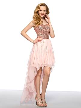 Asymmetrical Sweetheart Neckline Sequins Homecoming Dress