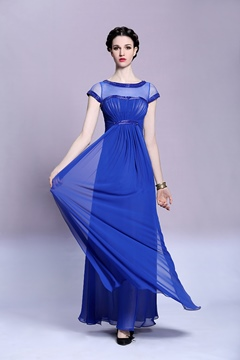 Bateau A-Line Short Sleeves Beading Ruffles Long Evening Dress